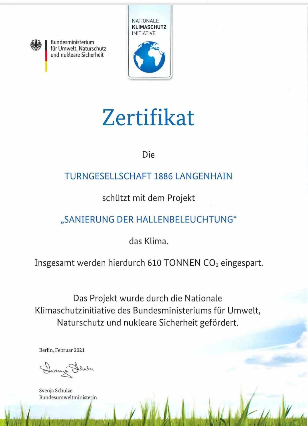 Zertifikat der Nationalen Klimaschutz Initiative für die TGS-Langenhain